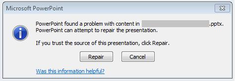 PowerPoint báo lỗi, yêu cầu Repair file